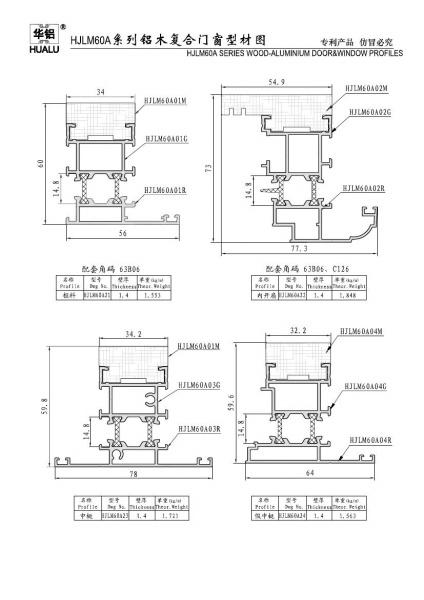 潍坊华建铝业HJLM6060A铝木复合门窗系列--山东面包车cad图片